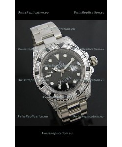 Rolex GMT Master II Swiss Replica Steel Watch in Diamond Bezel