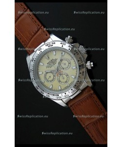 Rolex Daytona Japanese Replica Steel Watch in Yellow Rolesium Dial