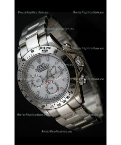 Rolex Daytona Japanese Replica Steel Watch in White Dial