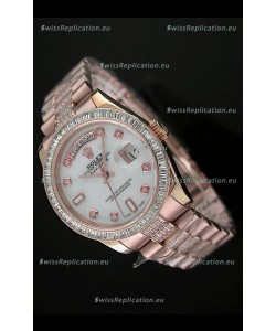 Rolex Oyster Perpetual Day Date Japanese Rose Gold Automatic Watch in White Mother of Pearl Dial