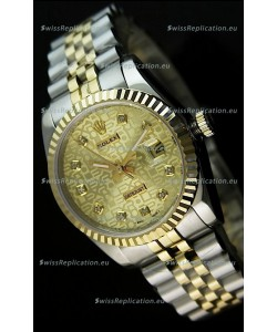 Rolex Replica Datejust Mens Japanese Watch in Gold Dial - 41MM