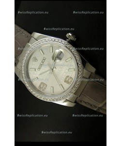 Rolex Replica Datejust Swiss Replica Watch - 37MM - Grey Dial/Strap