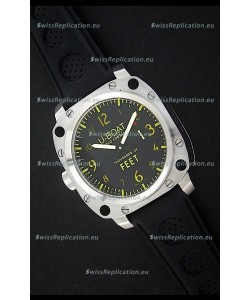 U-Boat Thousands of Feet Swiss Steel Automatic Watch in Yellow Markers