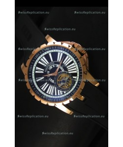 Roger Dubuis Excalibur Tourbillon Watch - Rose Gold Plating Black Dial