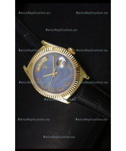 Rolex Day Date 36MM Yellow Gold Swiss Replica Watch - Blue MOP Dial