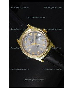 Rolex Day Date 36MM Yellow Gold Swiss Replica Watch - Grey Dial