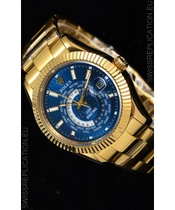 Rolex SkyDweller Swiss Watch in 18K Yellow Gold Case - DIW Edition Blue Dial