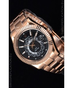 Rolex SkyDweller Swiss Watch in 18K Rose Gold Case - DIW Edition Black Dial