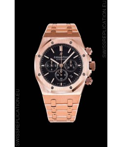 Audemars Piguet Royal Oak Chronograph Pink Gold Case Black Dial - 1:1 Mirror Replica