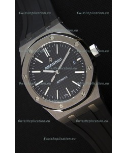 Audemars Piguet Royal Oak 41MM Black Dial Rubber Strap - 1:1 Mirror Ultimate Edition