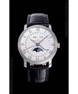 """Blancpain """"Villeret Quantième Complet"""" 904L Steel Swiss Watch in Off-White Dial"""
