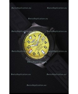 Breitling Avenger Blacksteel DLC Coated Swiss Replica Watch in Yellow Dial