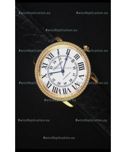 "Cartier ""Ronde De Cartier"" Yellow Gold Case watch with Lab Created Diamonds Bezel"