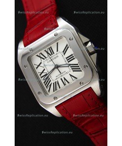 Cartier Santos De Cartier 1:1 Mirror Replica Red Strap 33MM Ladies Watch