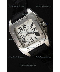Cartier Santos De Cartier 1:1 Mirror Replica Black Strap 33MM Ladies Watch