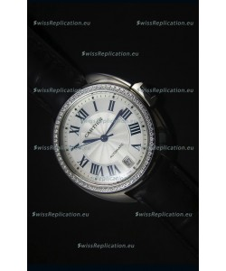 Cle De Cartier Watch 40MM Steel Case Diamonds Bezel - 1:1 Mirror Replica Watch