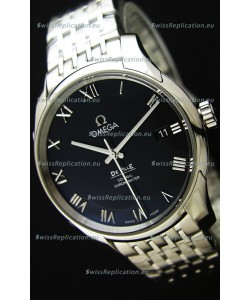 Omega De-Ville Annual Calendar Steel Strap Swiss Replica Watch 1:1 Mirror Edition in Black Dial