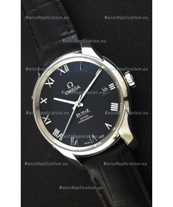 Omega De-Ville Annual Calendar Co-Axial Swiss Replica Watch 1:1 Mirror Edition in Black Dial