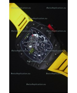 Richard Mille RM035-2 Rafael Nadal Forged Carbon Case with Yellow Rubber Strap
