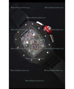Richard Mille RM011-03 One Piece Black Forged Carbon Case Watch in Black Strap