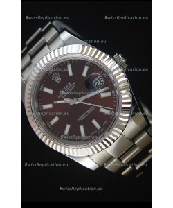 Rolex Datejust II 41MM with Cal.3136 Movement Swiss Replica Watch in Brown Dial Stick Markers