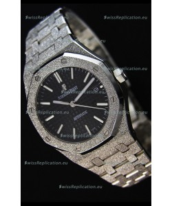 Audemars Piguet Royal Oak Frosted Self-Winding White Gold Black Dial 1:1 Mirror Replica Watch