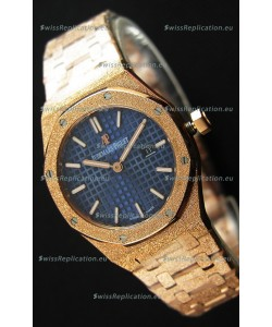 Audemars Piguet Royal Oak Frosted Rose Gold QUARTZ Watch Navy Blue 33MM - 1:1 Mirror Replica