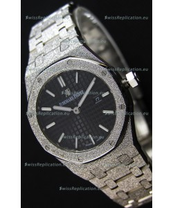 Audemars Piguet Royal Oak Frosted White Gold QUARTZ Watch Black Dial 33MM - 1:1 Mirror Replica