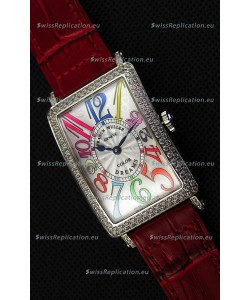 Franck Muller Long Island Color Dreams Ladies Swiss Replica Watch - Red Strap