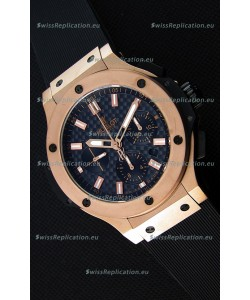 Hublot Big Bang Carbon Dial Pink Gold Case Swiss Replica Watch : 1:1 Mirror Replica