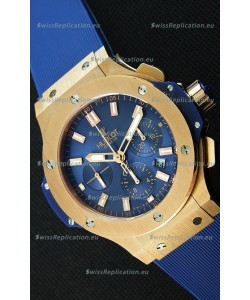 Hublot Big Bang Pink Gold Blue Swiss Replica Watch 1:1 Mirror Replica