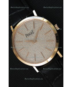 Piaget Altiplano G0A36128 Paved Diam Dial Swiss Quartz Replica Watch in Pink Gold Case