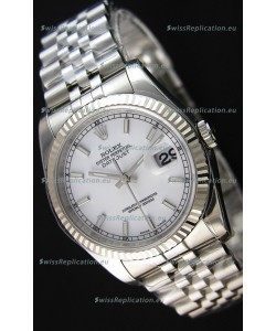Rolex Datejust 36MM Cal.3135 Movement Swiss Replica White Dial Jubilee Strap - Ultimate 904L Steel Watch