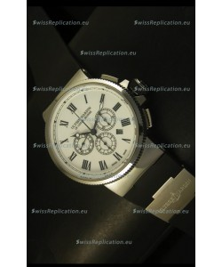 Ulysse Nardin Marine Chronograph Stainless Steel White Roman Dial - 1:1 Mirror Replica