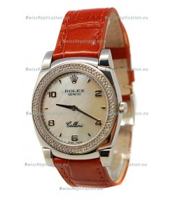 Rolex Cellini Cestello Ladies Swiss Watch Pearl in Diamonds Bezel