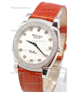 Rolex Cellini Cestello Ladies Swiss Watch White Face Diamonds Hour, Bezel and Lugs