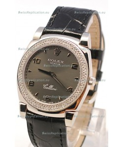 Rolex Cellini Cestello Ladies Swiss Watch in Grey Face and Diamonds Bezel