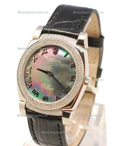 Rolex Cellini Cestello Ladies Swiss Watch in Black Pearl Face Diamonds Bezel and Lugs