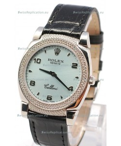Rolex Cellini Cestello Ladies Swiss Watch in Blue Face Black Leather Strap Diamonds Bezel