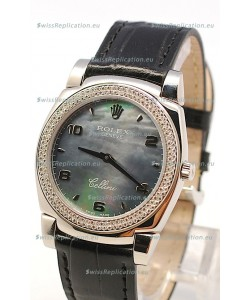 Rolex Cellini Cestello Ladies Swiss Watch in Black Pearl Face Diamonds Bezel