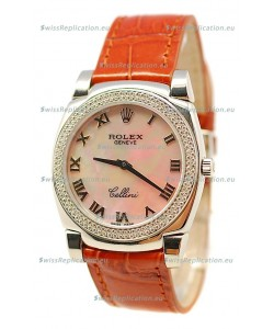 Rolex Cellini Cestello Ladies Swiss Watch Beige Pearl Roman Face Diamonds Bezel