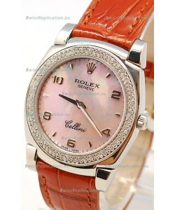Rolex Cellini Cestello Ladies Swiss Watch in Pink Pearl Face Diamonds Bezel