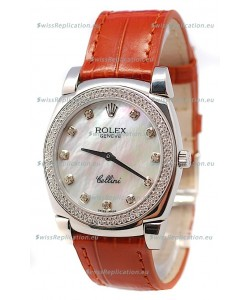 Rolex Cellini Cestello Ladies Swiss Watch in White Pearl Face Diamonds Bezel and Hours Markers