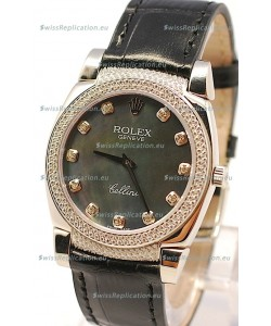 Rolex Cellini Cestello Ladies Swiss Watch in Black Pearl Face Diamonds Markers