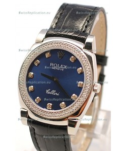 Rolex Cellini Cestello Ladies Swiss Watch in Dark Blue Face and Diamond Bezel