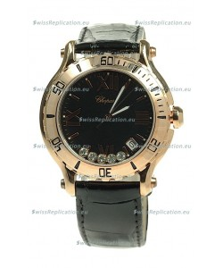 Chopard Happy Sport Diamonds Edition Replica Gold Watch in Black Strap