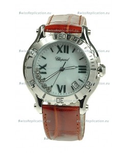 Chopard Happy Sport Diamonds Edition Replica Watch in Brown Strap