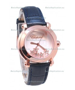 Chopard Happy Sport Star Shaped Diamonds Swiss Rose Gold Watch in White Dial