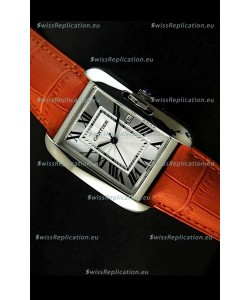 Cartier Tank Ladies Replica Watch in Steel Case/Orange Strap