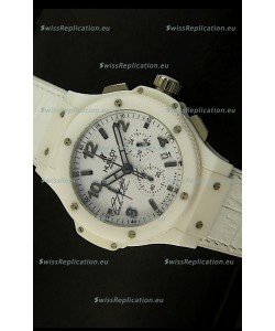 Hublot Big Bang White Ceramic Case Watch in Quartz Movement